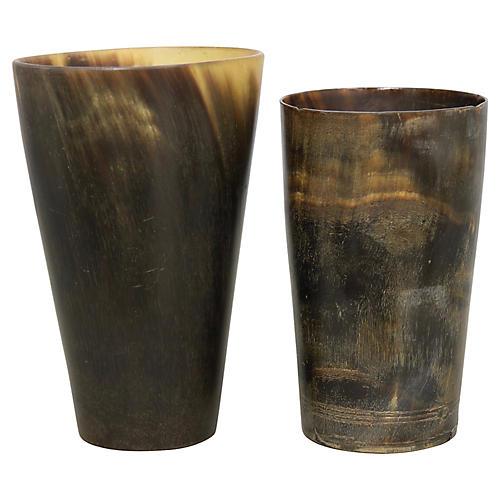 Antique Horn Bar Tumblers, S/2