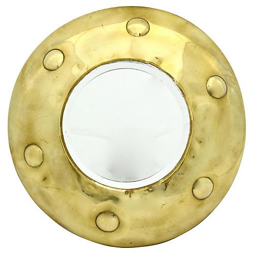 English Porthole-Style Beveled Mirror