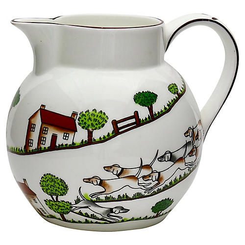 English Hunting Scene Pitcher