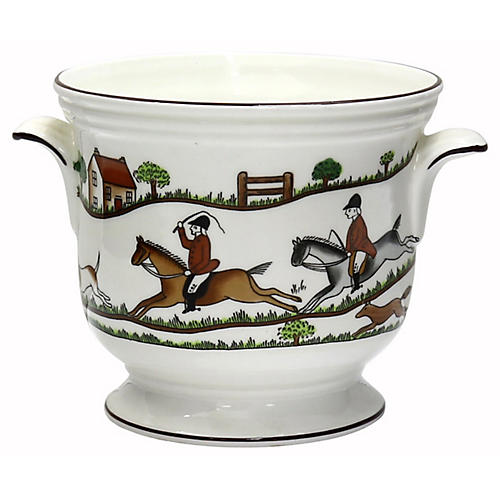 English Hunting Scene Jardiniere/Pot