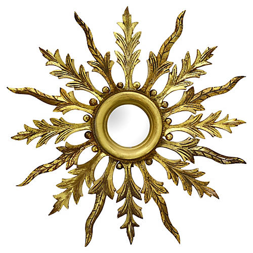 Antique French Gilded Starburst Mirror