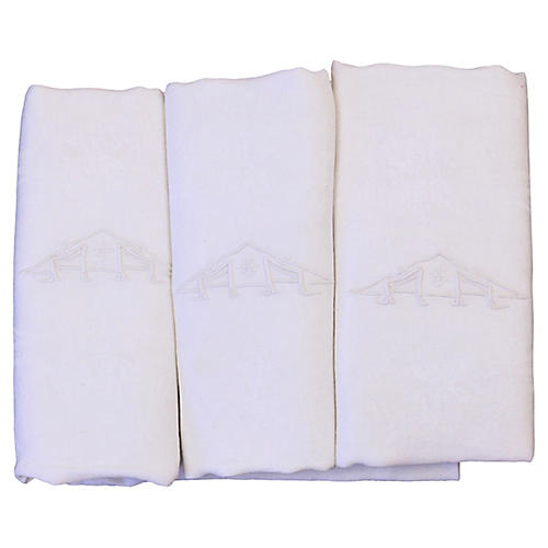 """Antique French Linen """"AA"""" Napkins, S/6"""