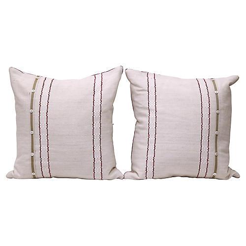 French Linen Pillow w/ Buttons, Pair