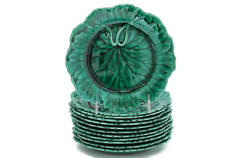 Wedgwood Green Majolica Leaf Plates S/12