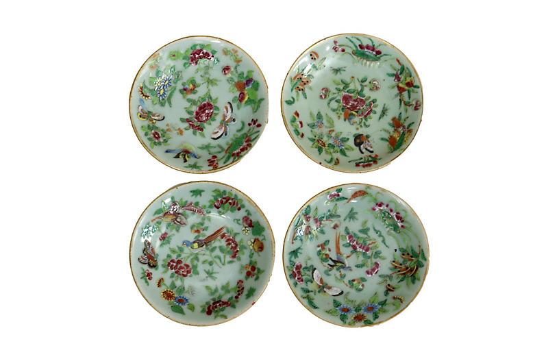 19th-C. Chinese Wucai Celadon Plates