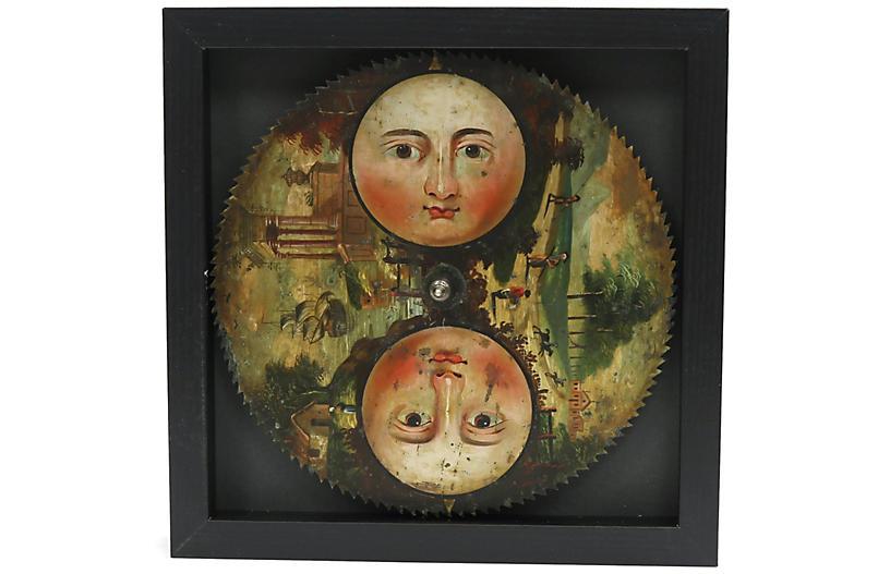 19th-C. Hand-Painted Sun/Moon Clock Face