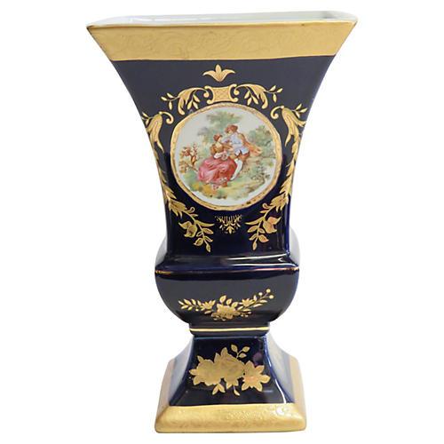 Victorian-Style Cobalt Blue Vase