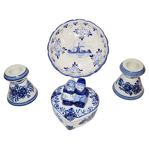 1960s Delft Accent Pieces, S/4