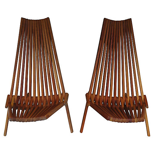 1970s Folding Hickory Chairs, Pair