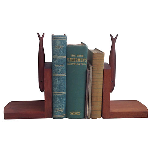 Angler's Bookends with Fish Titles, S/5