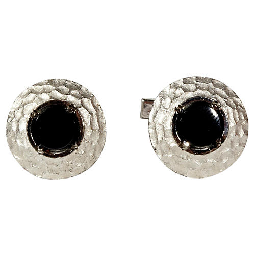 Hammered Sterling & Onyx Cuff Links
