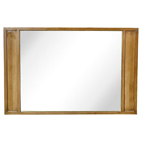 1960s Pecan Wood Framed Mirror