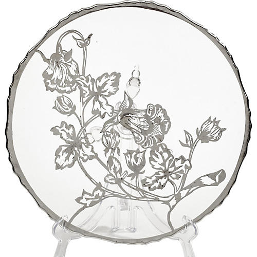 Floral Silver Overlay w/ Low Glass Stand