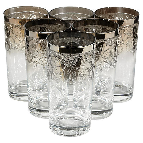 1960s Textured Silver-Rim Glasses, S/6