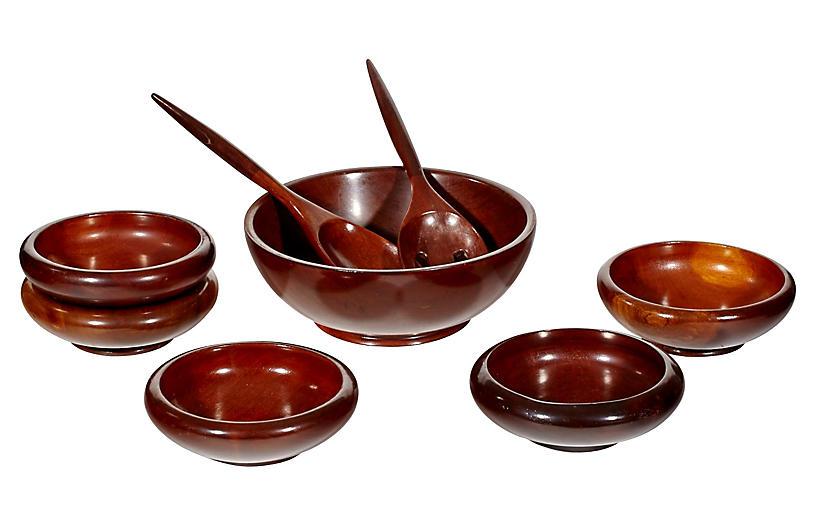 Wood Salad Bowl Serving Set, S/8