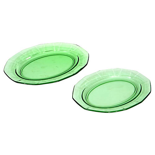 1950s Oval Green Glass Platters, Pair