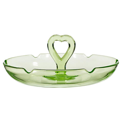 1950s Heart-Handled Small Glass Compote