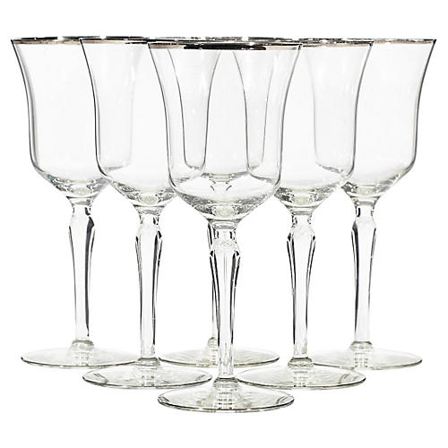 1960s Tall Silver Rimmed Wine Stems, S/6