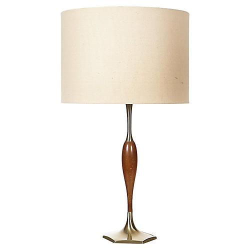 1960s Gilt Metal & Walnut Wood Lamp