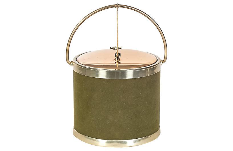 1960s Green & Gilt Round Ice Bucket