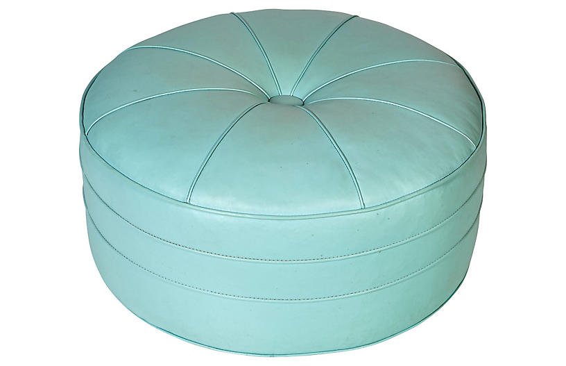 Brilliant 1960S Oversize Round Turquoise Ottoman 2 B Modern Top Caraccident5 Cool Chair Designs And Ideas Caraccident5Info