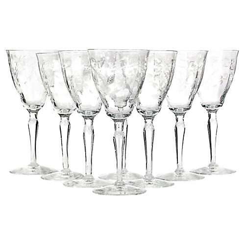 Art Deco Floral Etched Glass Stems, S/8