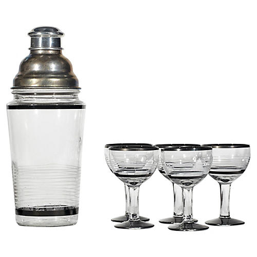 1950s Cocktail Drink Set, S/6