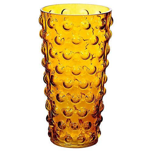 Amber Bubble Glass Vase