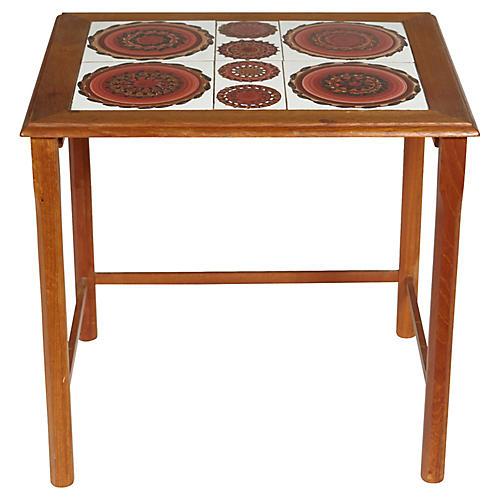 1970s Danish Tile Top Side Table