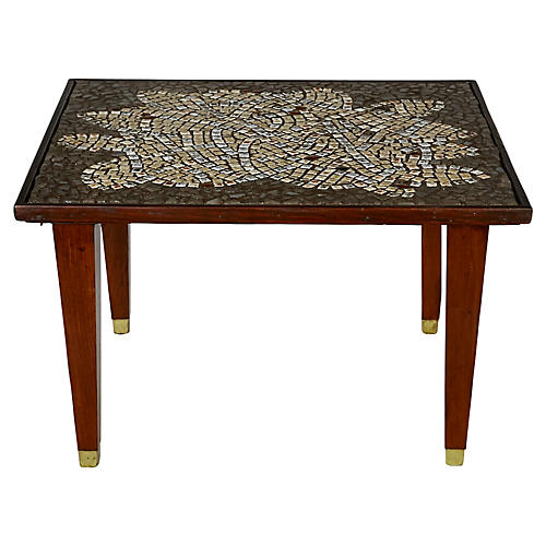 Mosaic Tile-Top Side Table