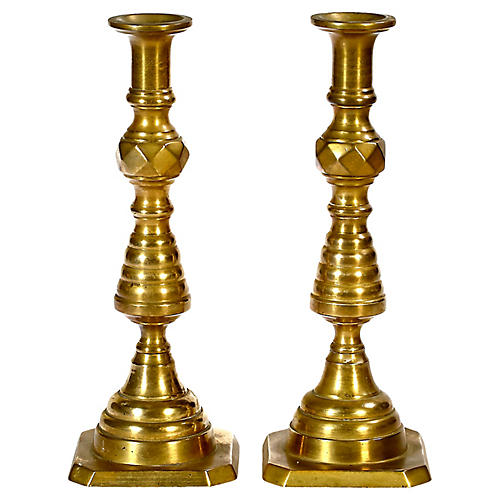 Early 20th C. Brass Candleholders, Pr