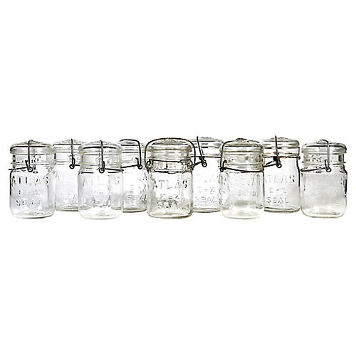 Small Kitchen Canning Jars, Set of 11