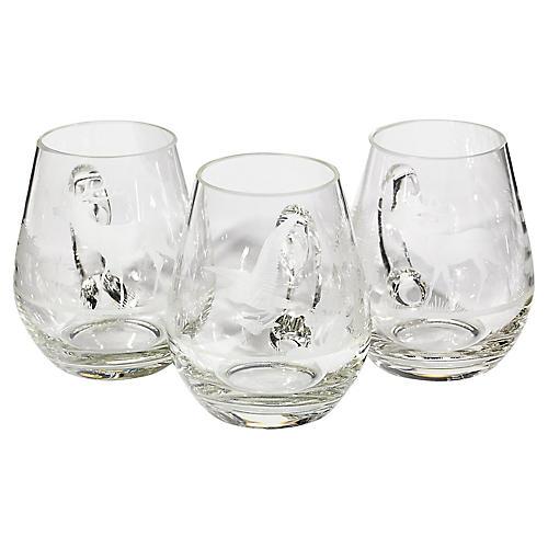 1950s Glass Wildlife Mugs, S/3