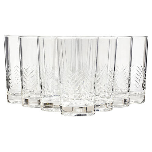 1960s Cut-Line Glass Tumblers, S/11