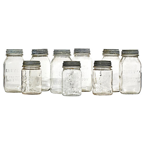 Early 1900s Mason Jars w/ Zinc Lids, S/9