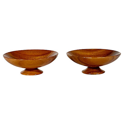 Monkey Wood Footed Bowls, Pair