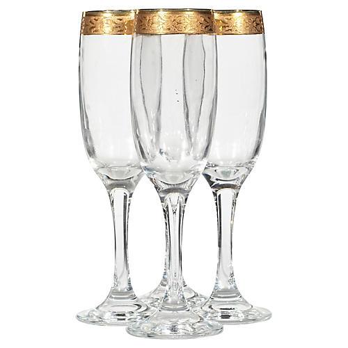 Gilt Rim Champagne Flutes, S/4