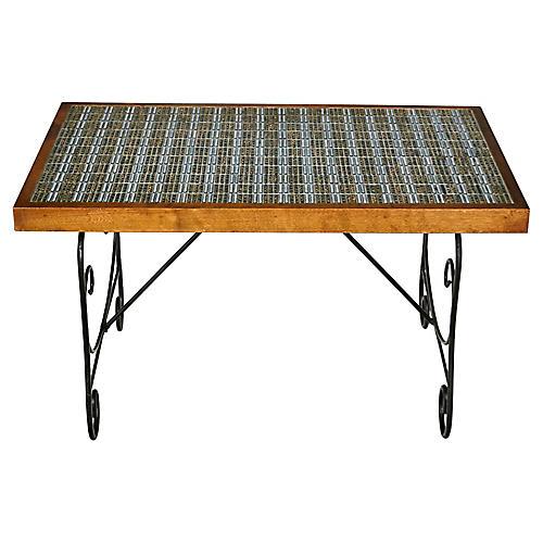 1960s Tile Top & Metal Base Coffee Table