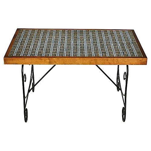 1960s Tile Top & Metal Base Coffee Table