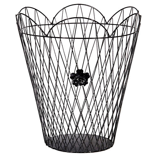 Black Metal Wire Waste Basket