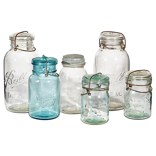 Rustic Glass Canning Jar Collection, S/6