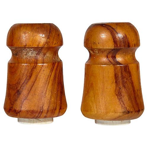 1960s Wood Salt & Pepper Shakers, Pr