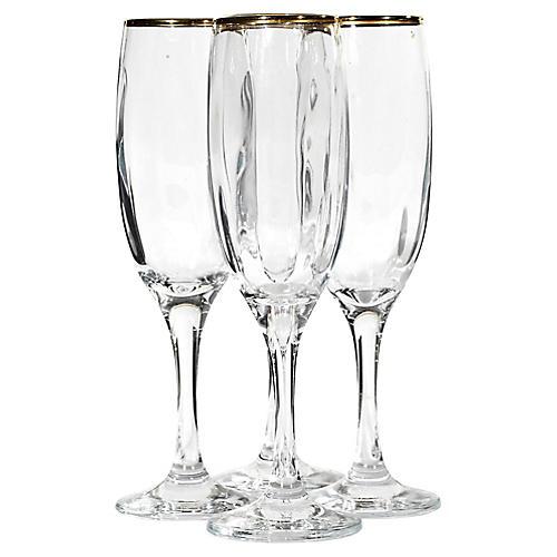1970s Silver Rim Champagne Flutes, S/4