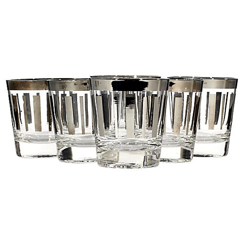 1960s Silver Lined Glass Tumblers, S/6