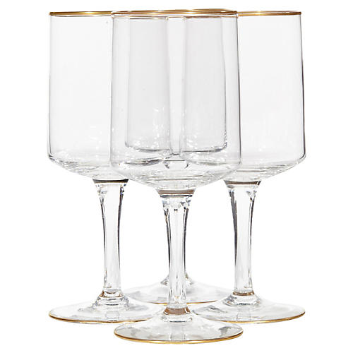 1960s Lenox Gilt-Rim Wine Stems, S/4