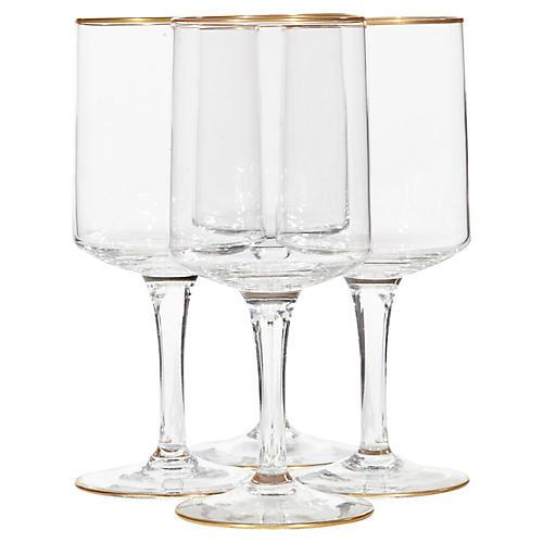 1960s Lenox Gilt-Rim Wine Stems, S/4