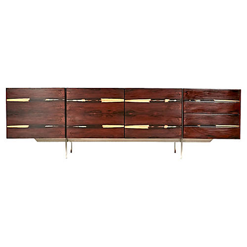 Rosewood and Steel Low Sideboard