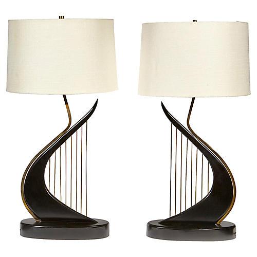 1960s Black Harp Lamps, Pair