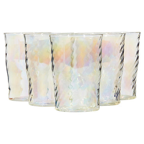 1950s Iridescent Glass Tumblers, S/5