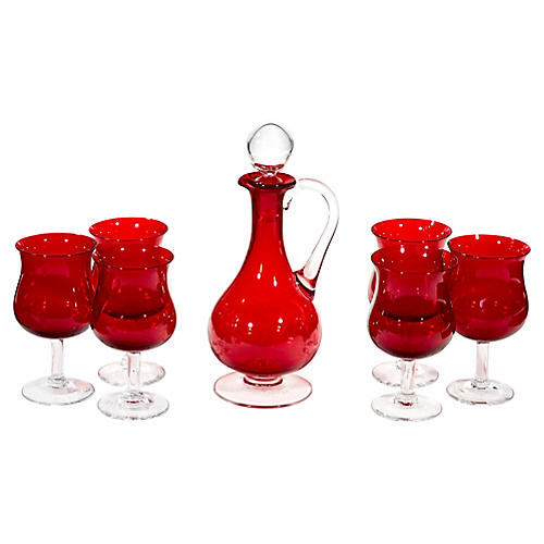 1960s Red Glass Wine Decanter Set, S/7
